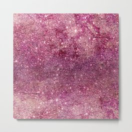 Modern chic faux glitter girly purple pattern Metal Print