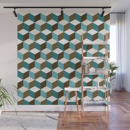 Cubes Pattern Teals Browns Cream White Wall Mural