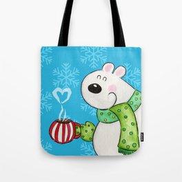 Hot Cocoa Polar Bear Tote Bag