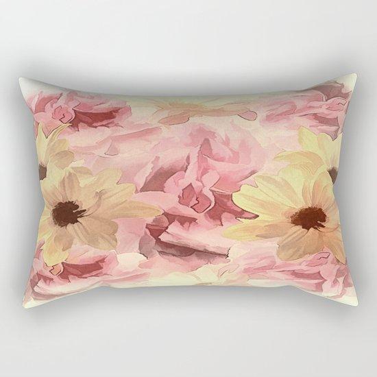 Soft Hazy Day Spring Floral Bouquet Rectangular Pillow