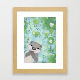 Otter in the Water Framed Art Print