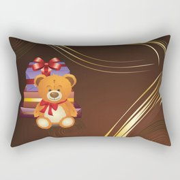 Teddy bear with gift boxes Rectangular Pillow