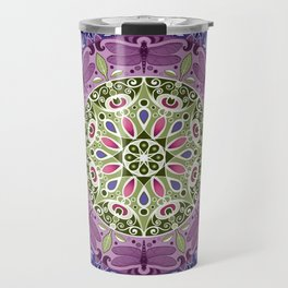 Colourful Dragonfly Mandala Travel Mug