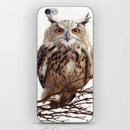 WILDERNESS BROWN OWL IN WHITE iPhone Skin