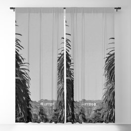 Hollywood Sign, Hancock Park Street view line by palm trees black and white photograph Blackout Curtain