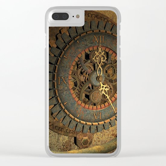 Steampunk, awesome clock, rusty metal Clear iPhone Case