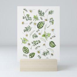 Scattered Garden Herbs Mini Art Print