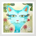 The Blue Cat & The Blossom - Hand-painted Illustration by marionbouquet