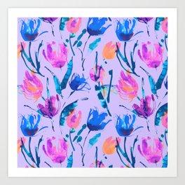 Tulip fever (floral seamless pattern in lilac, ultramarine, magenta, blue, orange colours) Art Print