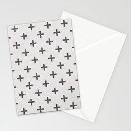 Geometric Cross Modern Charcoal Vintage Grunge Pattern Stationery Cards