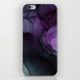 Abstract Ink Painting Deep Purple Green iPhone Skin