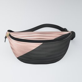 Modern Chic Pink Rose Gold Black Triangle Cut Fanny Pack