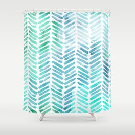 Handpainted Chevron pattern - light green and aqua - stripes Shower Curtain