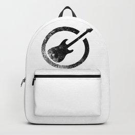 Black Guitar Ink Stamp Backpack