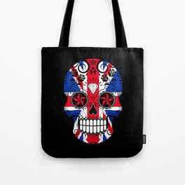 Sugar Skull with Roses and the Union Jack Flag Tote Bag