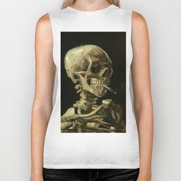 Skull of a Skeleton with Burning Cigarette by Vincent van Gogh Biker Tank