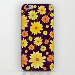 Yellow dots, Yellow Flower, Floral Pattern, Yellow Blossom iPhone Skin