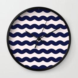 Winter 2018 Color: Ultra Blue Moon on Millennial Pink Waves Wall Clock