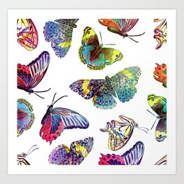 Butterfly Obsession in Blues Art Print