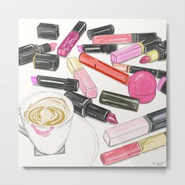 Morning coffee with a lipstick addict Metal Print
