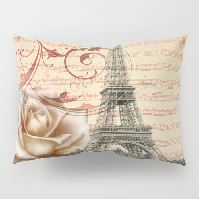 vintage chandelier white rose music notes Paris eiffel tower Pillow Sham