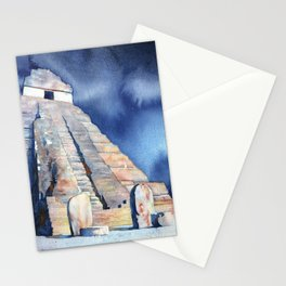 Mayan temple and stelae at UNESCO World Heritage ruins of Tikal- Guatemala. Stationery Cards
