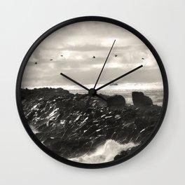 South Jetty, Oregon coast , pelicans Wall Clock