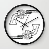 guns Wall Clocks featuring Guns by Calyx Studio