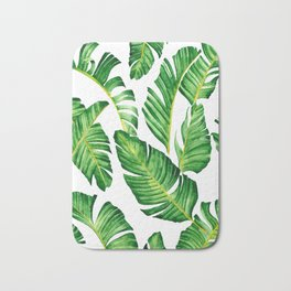 Banana Leaves pattern in watercolor Bath Mat