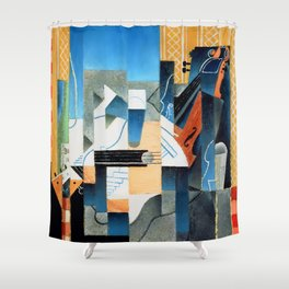 """Juan Gris """"Still Life With Violin and Guitar"""" Shower Curtain"""