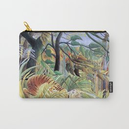 Tiger in a Tropical Storm (Surprised!) by Henri Rousseau 1891 // Jungle Rain Stormy Weather Scene Carry-All Pouch