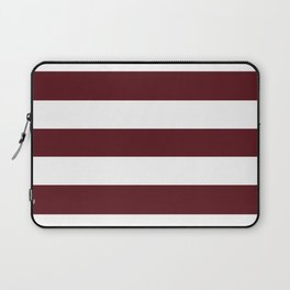 Chocolate cosmos - solid color - white stripes pattern Laptop Sleeve