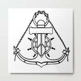 Anchor and Steering Helm [Outline] Metal Print