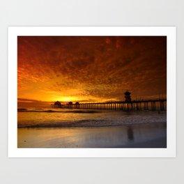 California Sunset * Huntington Beach Pier Art Print