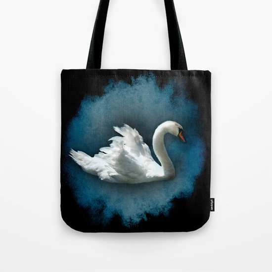 White Swan on Blue Tote Bag