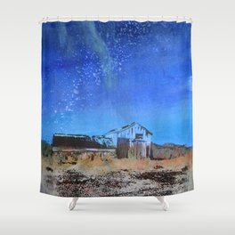 Farmhouse with Northern Lights Shower Curtain