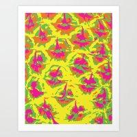 preppy Art Prints featuring Preppy Pineapple by Kristin Seymour