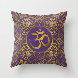 Golden  OM symbol with  on pastel purple Throw Pillow