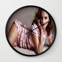 emma watson Wall Clocks featuring Emma Watson by Susan Lewis