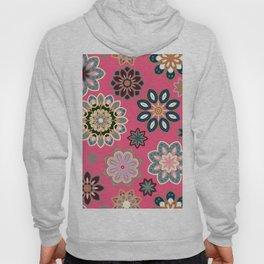 Flower retro pattern in vector. Blue gray flowers on pink background. Hoody