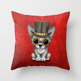 Steampunk Baby Wolf Cub Throw Pillow