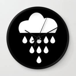 clound with rain drops. black white Wall Clock