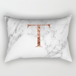 Monogram rose gold marble T Rectangular Pillow