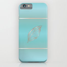 Rose Gold Feather Turquoise iPhone Case