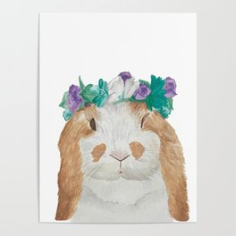 Spring Queen Bunny Rabbit in Flower Crown Poster