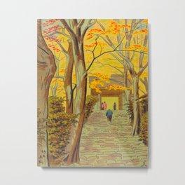 Asano Takeji Japanese Woodblock Print Vintage Mid Century Art Autumn Trees Shinto Shrine Metal Print
