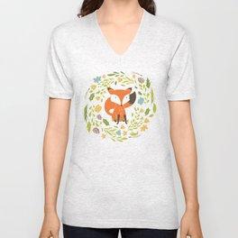 Woodland Fox illustration with cute floral wreath Unisex V-Neck