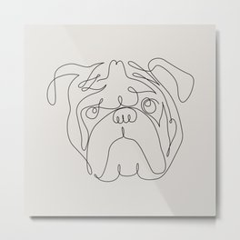 One Line English Bulldog Metal Print