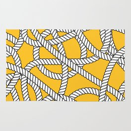 Nautical Yellow Rope Pattern Repeat Rug