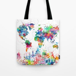 world map watercolor collage Tote Bag